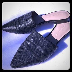 H by Halston black animal leather slip on slides